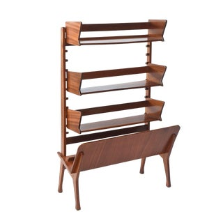 Italian Modern Walnut Rolling Adjustable Book Shelf, Cesare Lacca