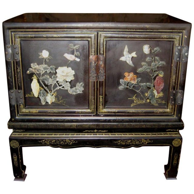 Chinese Black Lacquer Hard Stone Cabinet - Image 1 of 5