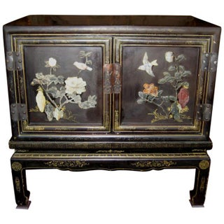 Chinese Black Lacquer Hard Stone Cabinet