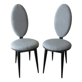Christopher Guy Style Lacquer & Silk Accent Chairs - a Pair