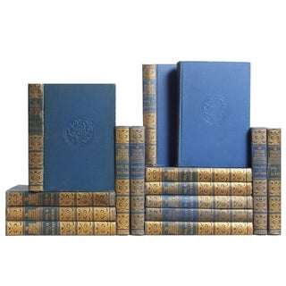 Vintage Blue Encyclopedia Books - Set of 15