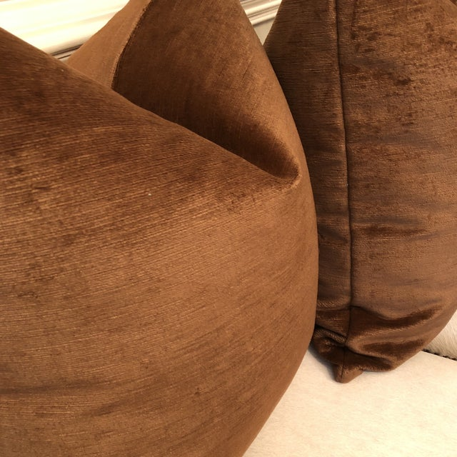"22"" Chocolate Linen Velvet Pillows - A Pair - Image 4 of 5"