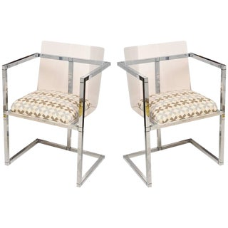 Pair of Lucite and Polished Chrome Architectural Side Chairs