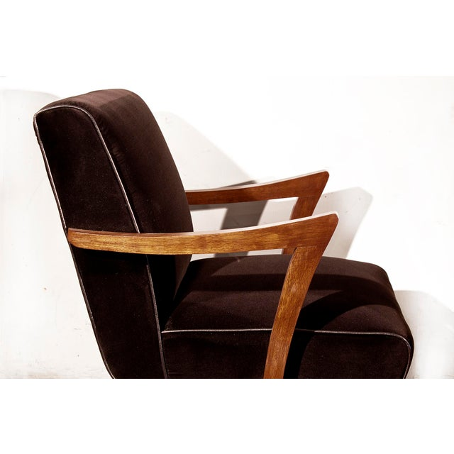 Wormley for Dunbar Style Brown Micro Velvet Armchair - Image 5 of 6