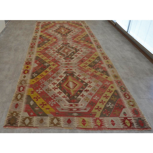 Antique Turkish Kilim Hand Woven Large Runner Rug