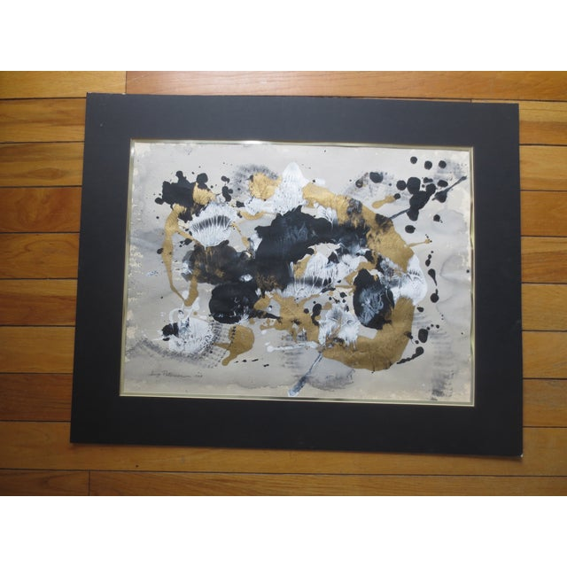 1984 Large Russian Gold & Black Gouache Abstact - Image 2 of 7