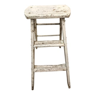 Vintage White Painted Wooden Step Ladder