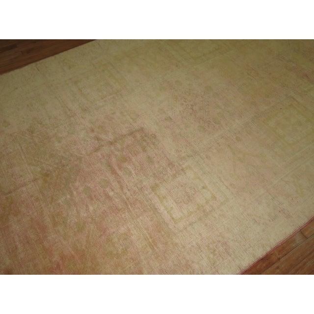 Pale Pink Antique Oushak Rug - 6'4'' X 9'3''