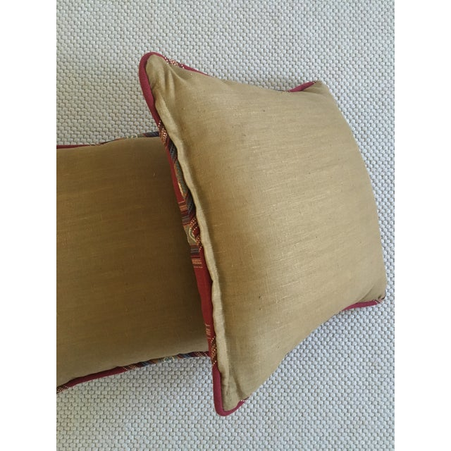 Red Southwestern Stripe Pillows - A Pair - Image 4 of 9