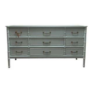 Faux Bamboo Painted Green Long Dresser