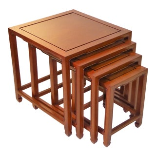Exquisite Baker Far East style Teak Nesting Tables Set of Four.