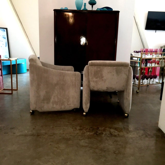 Pair of Milo Baughman Lounge Chairs on Casters Newly Upholstered in Velvet - Image 4 of 8