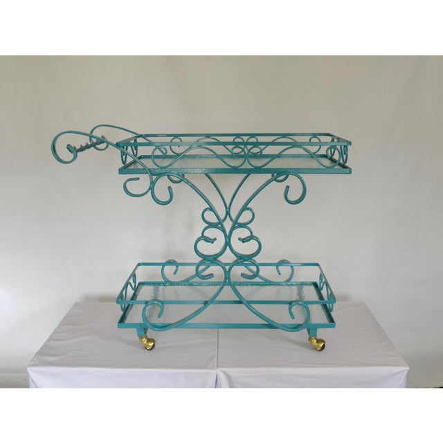 Image of Vintage Wrought Iron & Glass Restored Teal Bar Cart