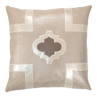 "Piper Collection Beige Metallic Linen ""Griffin"" Pillow"