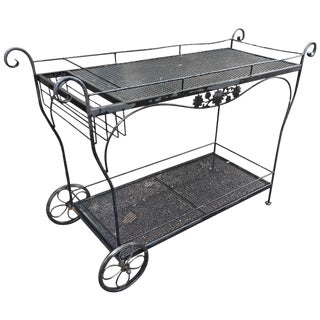 Vintage Woodard Black Iron Bar Cart