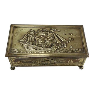 English Brass Schooner Cigarette Box