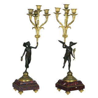 Pair of French Empire Bronze and Marble Candelabras