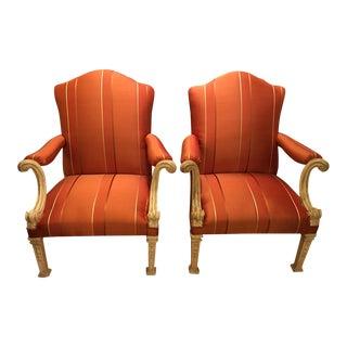 Antique Italian Chairs with Designer Silk - Pair