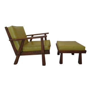 Brandt Rustic Modern Lounge Chair & Ottoman