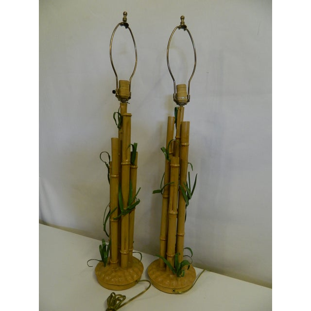 Vintage Metal Faux Bamboo Lamps - A Pair - Image 5 of 9