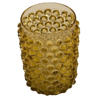 Amber Colour Pressed Glass Tea Light, England c.1950
