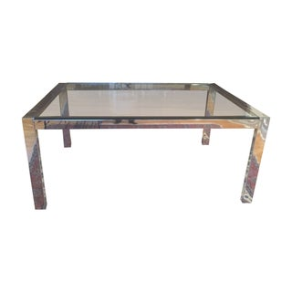 Modern Chrome & Glass Parsons Table