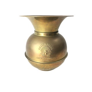 """Antique Style Brass Spittoon """"Redskin Brand Chewing Tobacco Company"""""""