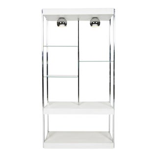 Vintage Modern Chrome & White Laminate Bookshelf
