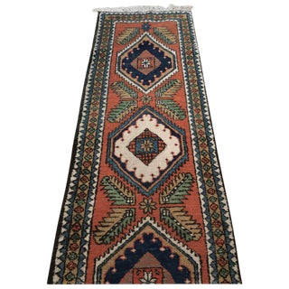 "Mid-Century Persian Hamadan Runner, Bold Pattern and Colors -- 11"" x 2'2"""