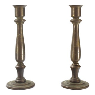 Very Heavy Solid Bronze Turned Candlesticks Holders
