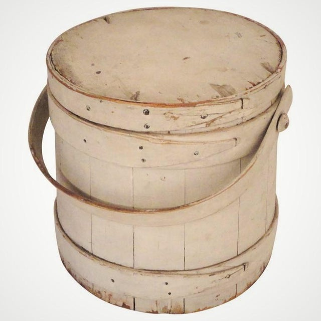19th Century Original White Painted Firkin Bucket From New England - Image 2 of 5