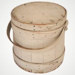 Image of 19th Century Original White Painted Firkin Bucket From New England