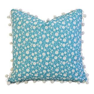 """18"""" Custom Tailored Dandelion Flower Feather/Down Pillow w/ Pom-Pom Trim"""
