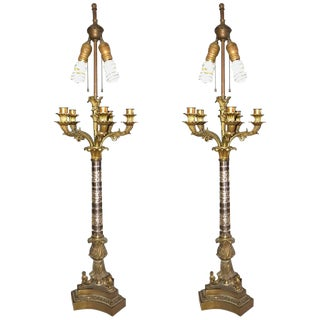 Empire Style Glass Column Form Candelabra Lamps - A Pair