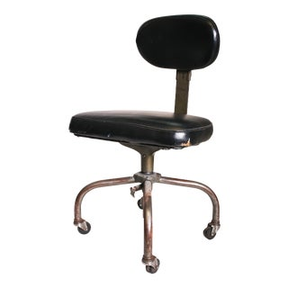 Vintage Industrial Swivel Office Chair with Black Upholstery