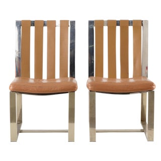Milo Baughman Leather Side Chairs - A Pair