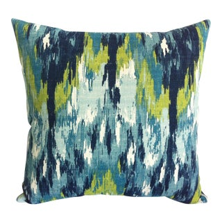 Mid-Cenury Modern Watercolor Ikat Pillow Cover