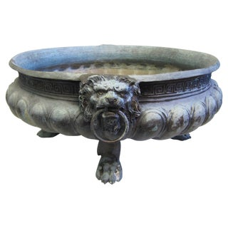 19th Century Brass Greek Key Lion Head Jardiniere