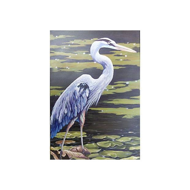 Dramatic Heron Portrait Painting - Image 2 of 6