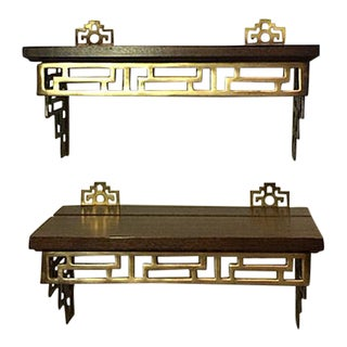 Vintage Chinoiserie Brass & Wood Wall Shelves - a Pair