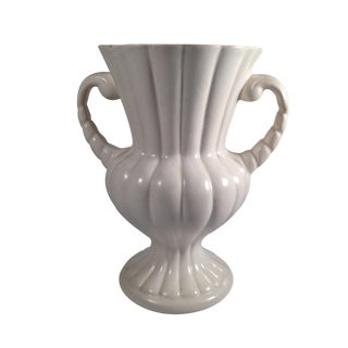 Traditional White Ceramic Two Handled Vase