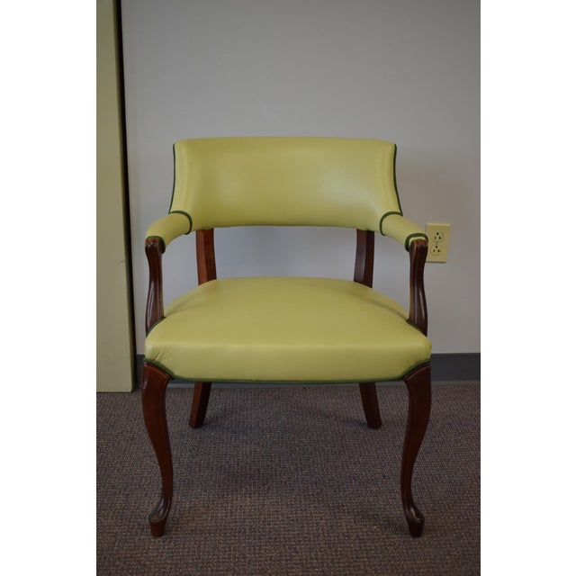 Elegant Set of (4) Celedon Green Leather W Hunter Green Piping Upholstered Bergere Chairs - Image 3 of 10