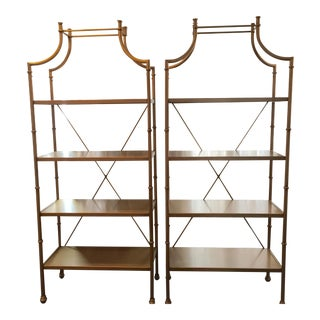 Pottery Barn Gold Tone Bookcases - A Pair