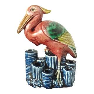 Japanese Majolica Exotic Bird Ceramic Figurine