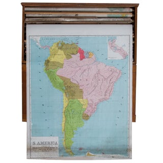 Vintage Pull Down Map of South America