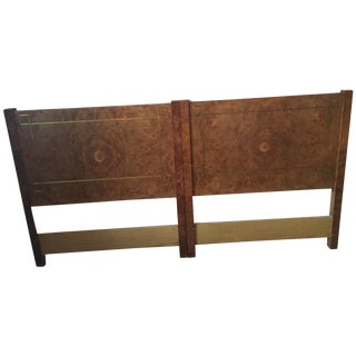 Greek Key Inlay Burl Twin Headboards- A Pair