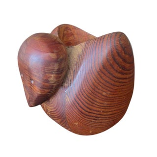 Vintage Teak Duck Sculpture by Deborah Bump