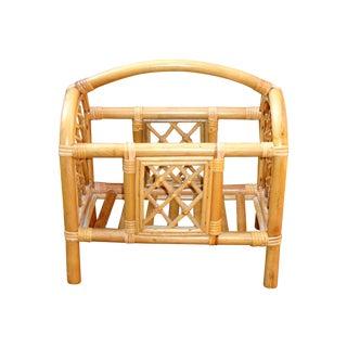 Mid-Century Bamboo Bentwood Rattan Magazine Rack
