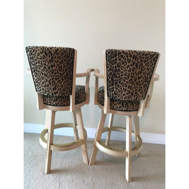 Leopard Print Swivel Bar Stools- A Pair - Image 4 of 6