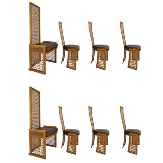 Set of 8 Dining Chairs with French-Caning: Vivai Del Sud for Casa Bella ,1980s